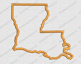 Louisiana State Applique Embroidery Design in 4x4 and 5x7 Sizes