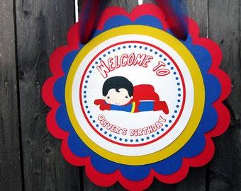 Superman Birthday Door Sign, Superhero Birthday Sign
