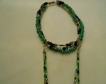 Green, Black, and Silver Slave Anklet