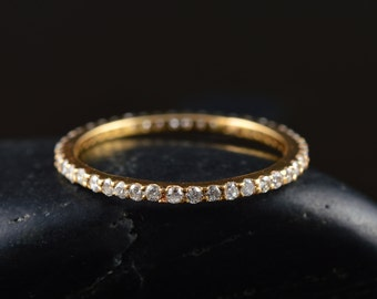 Diamond Eternity Band in 14k Yellow Gold, 1.3mm Wide, 0.33ctw, E-F Color, VS Clarity, Shared Prong Set, Diamond Stacker, Petite Tessa