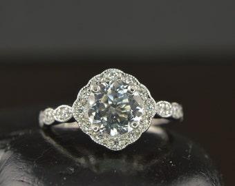 White Morganite Engagement Ring, Prong Set Center in Kite Set Cushion Shaped Diamond Halo with Scalloped Milgrain, Fit Flush Design, Reagan