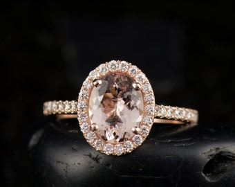 Maria - Morganite and Diamond Engagement Ring in Rose Gold, Oval Cut Center in Diamond Halo, Shared Prong, Fit Flush Design, Free Shipping