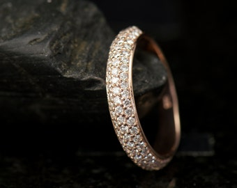 Carissa - Diamond Wedding Band in Rose Gold, Round Brilliant Cut, Three Row Pave Set Design, 3/4 Eternity Style, Stackable, Free Shipping