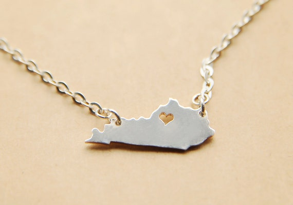 kentucky necklace custom state pendant by customhandcutjewelry