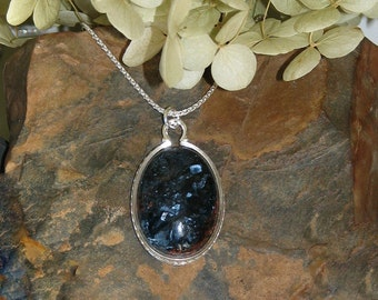 Blue Pietersite and Sterling Silver Neckace