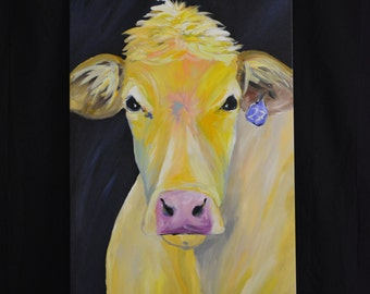 Original Cow Painting 24 x 48 Cow named Barb