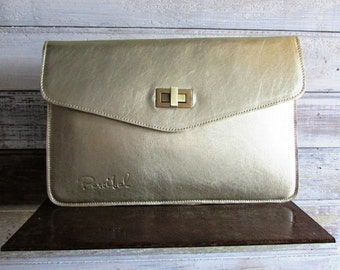 Gold leather clutch, Envelope clutch, Evening bag