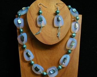 Opalescent Seaglass and Aqamarine Pearl Necklace--Knotted on turquoise waxed linen w/ paua shell, sparked w/ Swarovski Crystals--adjustable