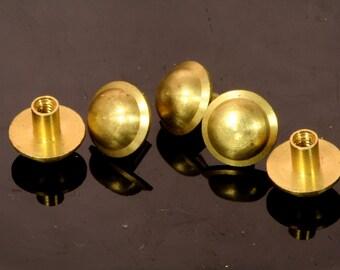 "10 pcs 11 x 11 mm raw brass studs, screw rivets, chicago screw / concho screw, unusual steampunk finding, 1/8"" bolt CSC8"