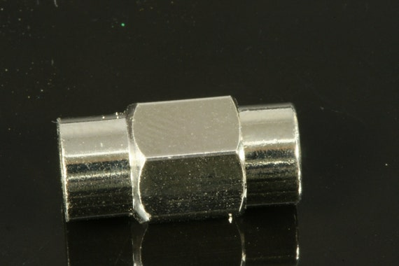 """Magnetic clasp leather cord 5 pcs 16 x 8 mm 5/8"""" x 5/16"""" nickel plated solid brass 5 mm 3/16"""" MCL6 N1163"""