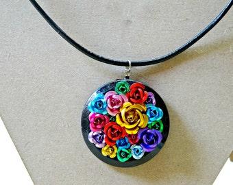 Aluminum Rose Pendant Necklace, Rose Pendant Necklace, Metal Rose Pendant Necklace, Rose Statement Necklace, Round Metal Rose Pendant
