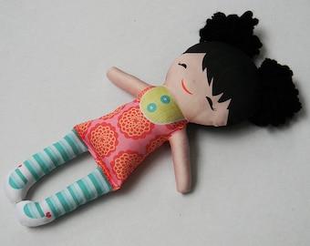 Organic Cotton Stuffed Handmade Doll Asian Look Molly