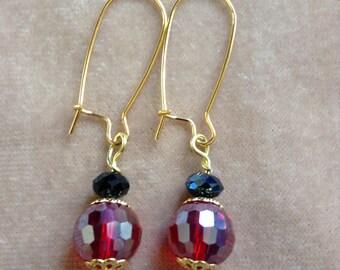 Faceted Red Rainbow AB Crystal Earrings ~ Gems2Treasure Jewelry Design