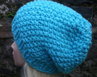Hand Knit Hat- Womens hat- slouchy -beanie hat-  winter hat- Bright Blue Chunky hat- Womens Accessories