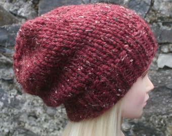 Hand Knit hat- Womens hat- Slouchy- Beanie hat-cranberry tweed- Rustic Mega chunky with wool- knit hat- Womens Accessories
