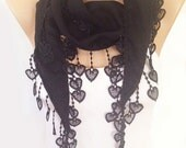 Black Scarf - Heart  Lace Black  Scarf - Cotton Lace Scarf -  Winter Scarf