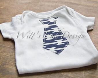 CUSTOM Baby TIE applique Onesie-Navy and white Tomahawk Stripe