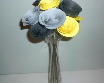 Yellow and Gray Paper Flowers, Medium Flowers in Yellow and Gray,Yellow and Gray Centerpiece, Paper Flower Arrangement, Wedding Flowers