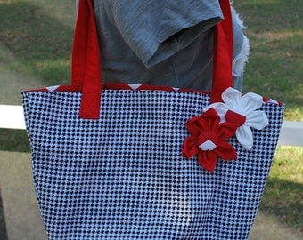 University of Alabama Crimson Tide Crimson Houndstooth Flower Tote Bag Purse