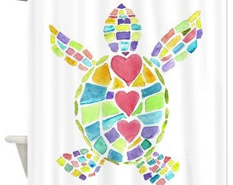 Fine Art Shower Curtain - Colorful watercolor fabric Sea Turtle Love  -  Art, Sea Turtle, Surf, beach, surfer, hearts, pastel, beach house