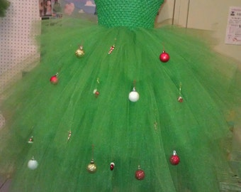 Christmas Tree Tutu Dress / costume with ornaments. HAT NOT INCLUDED.