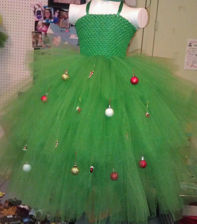 Christmas Tree Dress Costume: Christmas Tree Tutu Dress / Costume With Ornaments. HAT NOT