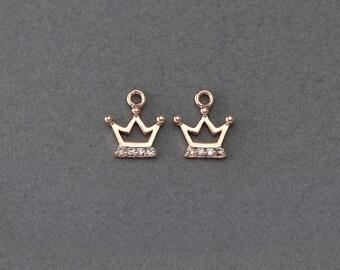 Crown Brass Pendant . Jewelry Craft Supply . Wedding Jewelry . Jewelry Craft Supply . Rose Gold Plated over Brass  / 2 Pcs - AC120-RG-CR