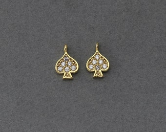 Spade Brass Pendant . Wedding Jewelry, Bridal Jewelry . 16K Polished Gold Plated over Brass  / 1 Pcs - BC107-PG-CR