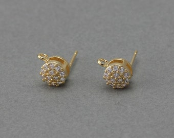 Round Cubic Post Earring . Wedding Earring . 925 Sterling Silver Post . 16K Polished Gold Plated over Brass / 2 Pcs - NC046-PG-CR
