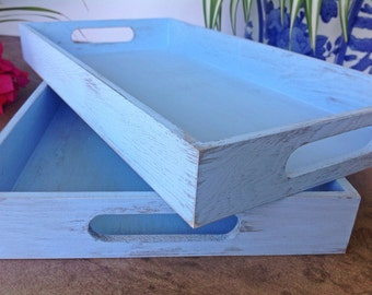 Wood tray - shabby chic decor - blue