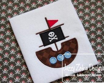Pirate Ship Appliqué embroidery Design - pirate Applique Design - ship Appliqué Design - pirate ship Appliqué Design - boy Applique Design