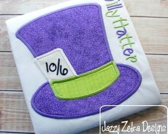 Tea Party Hat Appliqué embroidery Design - hat Appliqué Design - mad hatter Applique Design