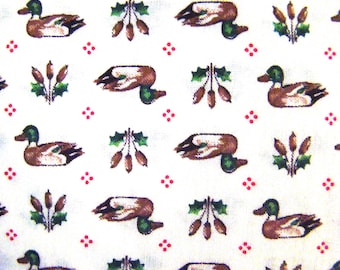 Vintage Mallard Duck Printed Fabric by the yard - 36 inches long  x 44.5 inches wide