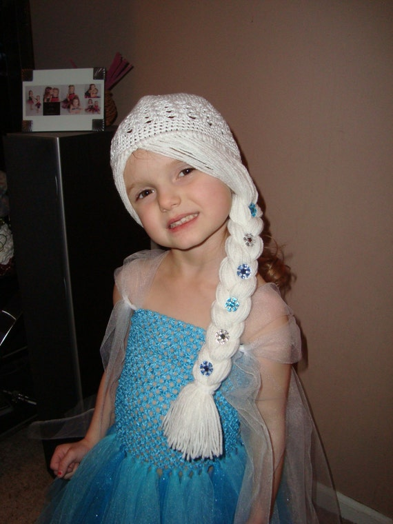 Crochet Elsa Hair Hat : Elsa Frozen Wig Hat, White Hair with braid to the side with snowflake ...