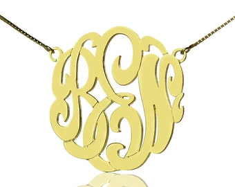 Personalized Monogram Necklace 18k Gold Plated Custom Monogrammed Name Necklace 3 Initials Jewelry-2369