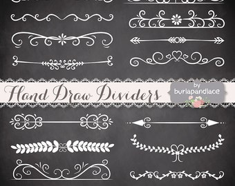 Hand Drawn flourishes dividers clipart, Digital ornament clipart , ornaments and elements digital, Hand Drawn Vintage Style