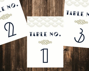 Luxe Art Deco Table Number // Printed Set // Wedding Decor, Deco Wedding, Modern Wedding Decor