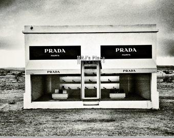 Prada Marfa print in black/white