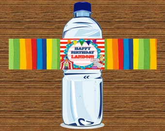 PRINTABLE Custom Water Bottle Label - Circus or Carnival Themed Party Water Bottle Label