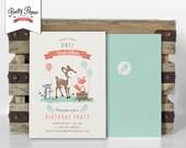 Woodland Birthday Party Invitation // Woodland Party Invite // Gender Neutral // Mint & Coral // Deer Fox Raccoon // Printable Digital BP03