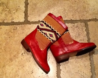 Handmade ostrich leather kilim boots