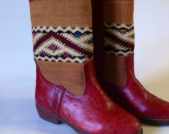 Handcrafted leather kilim boots