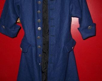 kids Renaissance costume buccaneer Pirate swashbuckler child's boys or girls blue frock coat