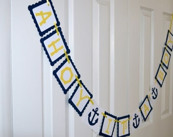 Ahoy It's a Boy, It's a Boy Banner, Nautical Anchor Banner, Baby Shower Decoration, Anchors, Ahoy Matey