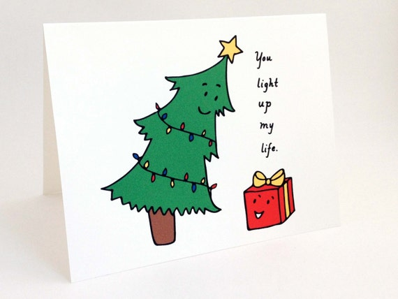 Cute Christmas Card Punny Holiday Card Whimsical
