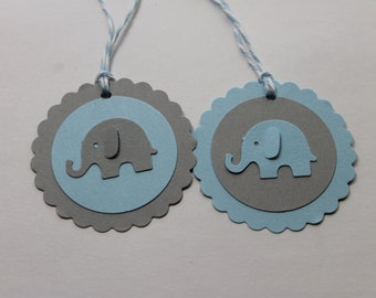 10pc Cute Baby Blue and Grey Elephant Tags for baby shower