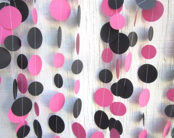 Hot Pink and Black Paper Circles Garland, Birthday Garland, Wedding Garland, Baby Shower Garland, Photo Prop