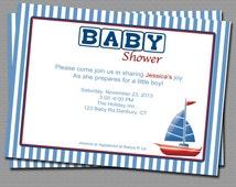 Row row my little boat Babyshower Invitation, Printable file