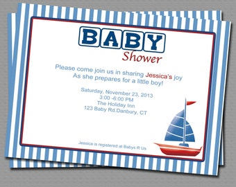 Row row my little boat Babyshower Invitation, Printable file