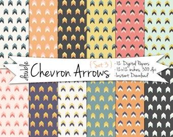 Tribal Digital Paper // Chevron Arrows Digital Paper // Printable Paper // Instant Download Tribal Paper